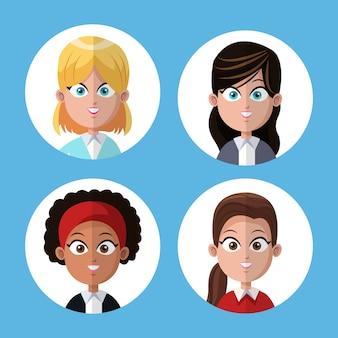 Escritório de colegas de trabalho de mulheres do grupo de desenhos animados