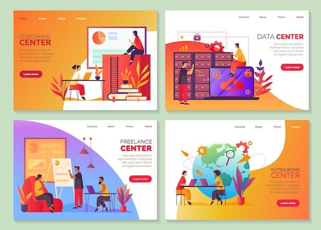 Escritório de coworking, espaço de trabalho para freelancers e centro de serviços de terceirização