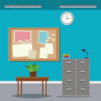 Escritório de horário de trabalho mesa de gabinete Vetor Premium