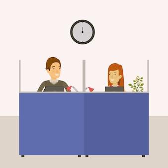 Escritório de local de trabalho de cubículos com empregados de homem e mulher