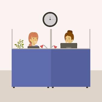 Escritório de local de trabalho de cubículos com empregados de mulher
