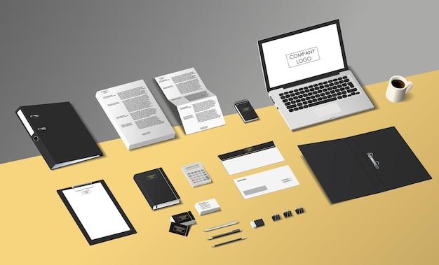 Escritório de marca isométrica simulado. ilustração vetorial para diferentes projetos.