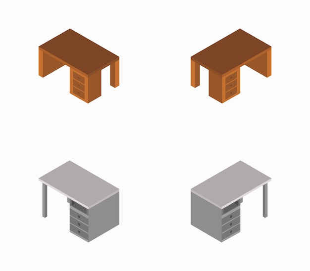 Escritório de mesa isométrica