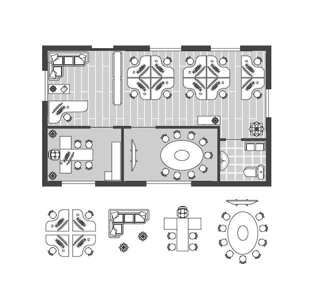 Escritório de negócios bruxa móveis esquema de linha fina ritmo de trabalho para gabinete. design de interiores conjunto vista superior. ilustração vetorial Vetor Premium