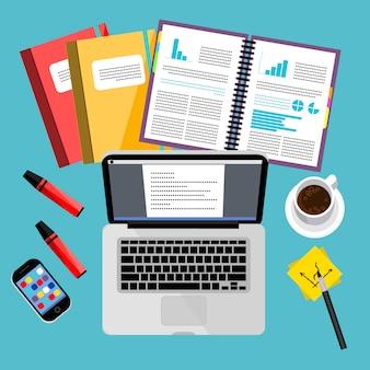 Escritório de negócios moderno e espaço de trabalho