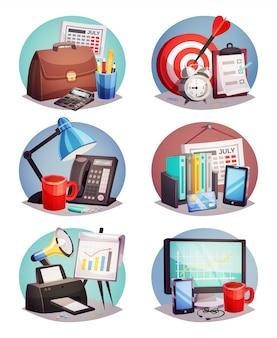 Escritório de negócios redondo conjunto de elementos