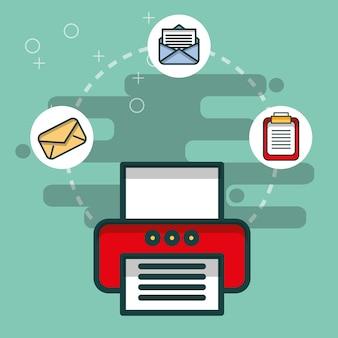 Escritório de papel de prancheta de mensagem de e-mail impressora