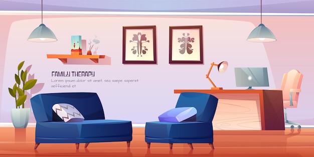 Escritório de psicólogo para terapia familiar em clínica