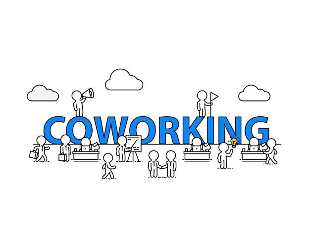 Escritório de trabalho de texto de coworking com pessoas. ilustração vetorial