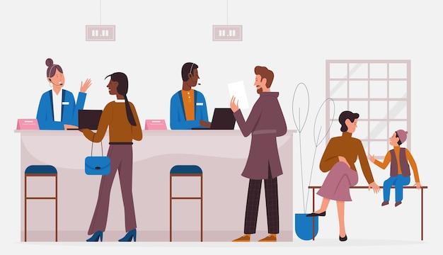 Escritório do banco trabalhando com clientes, serviço bancário Vetor Premium