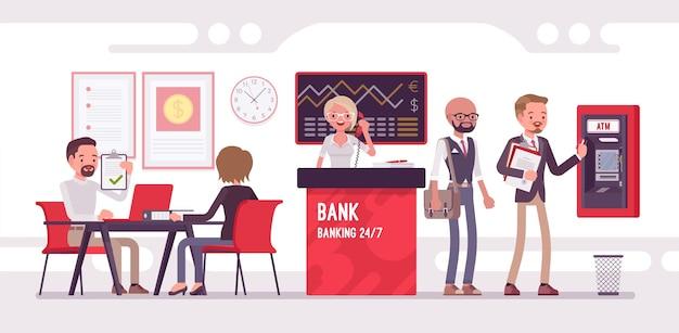 Escritório do banco trabalhando com ilustração de clientes