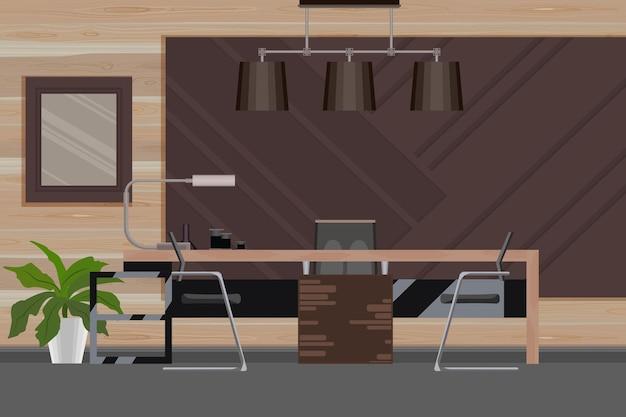 Escritório do diretor em estilo plano com local de trabalho, parede de madeira luzury.