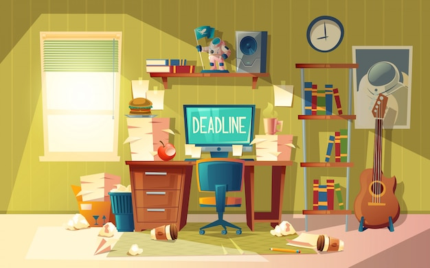Escritório domiciliário vazio dos desenhos animados no caos - conceito do fim do prazo, tempo de terminação de aproximação.