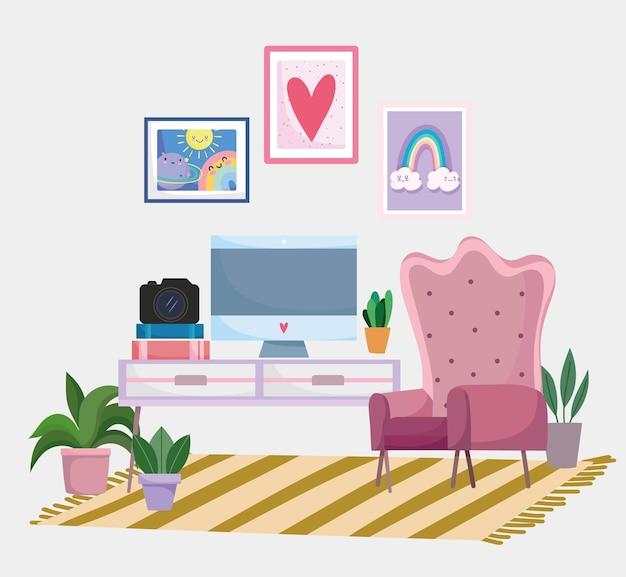 Escritório em casa cadeira do espaço de trabalho, câmera do computador, livros e imagens na parede