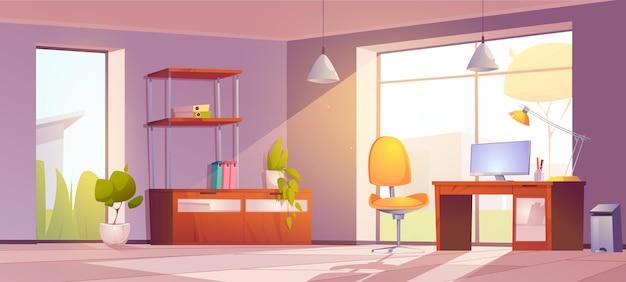Escritório em casa com cadeira monitor e estante