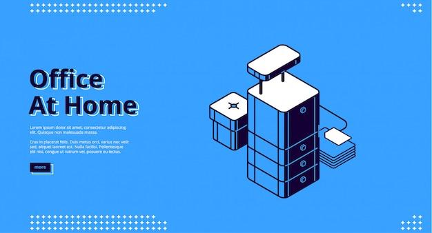 Escritório em casa, página de destino isométrica no local de trabalho
