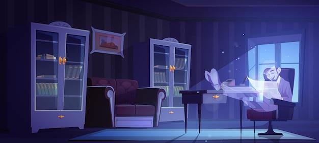 Escritório em casa vintage com homem fantasma na cadeira à noite