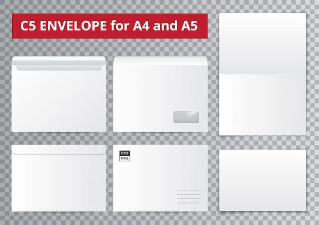 Escritório envelopes coleção transparente