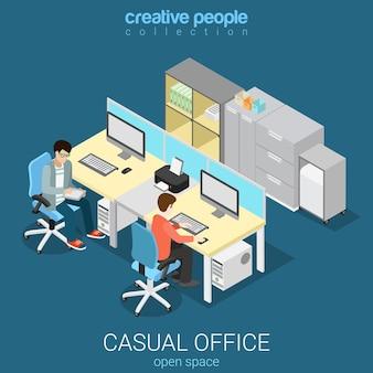 Escritório, espaço aberto, sala de trabalho, isométrico plano