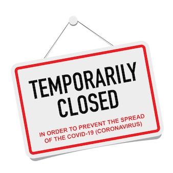 Escritório fechado temporariamente sinal de notícias sobre coronavírus.