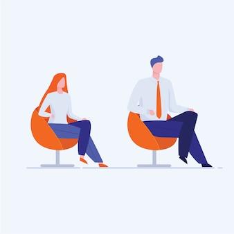 Escritório homem e mulher sentada em cadeiras