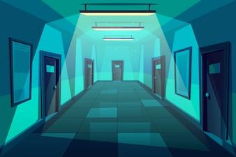 Escritório, hotel ou condomínio vazio corredor ou hall no desenho animado à noite