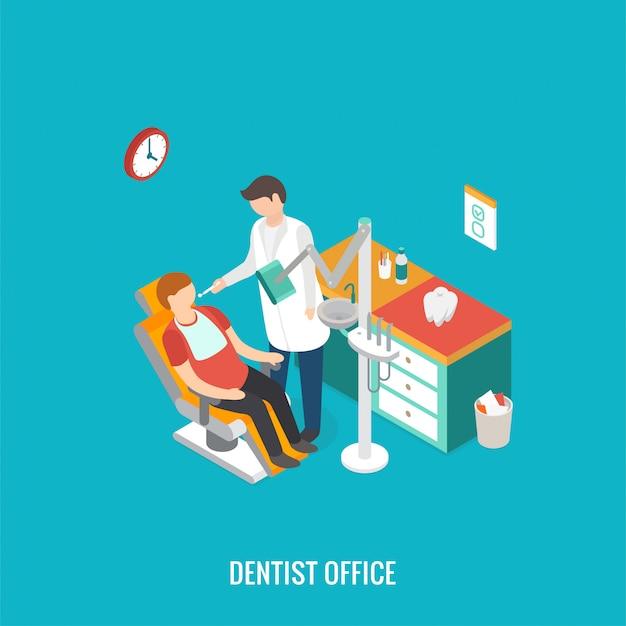 Escritório isométrico do dentista 3d durante o paciente da recepção.