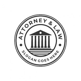 Escritório lei logotipo conceito com distintivo do círculo.