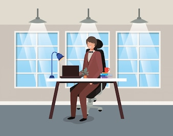 Escritório moderno, com, homem negócios, sentando