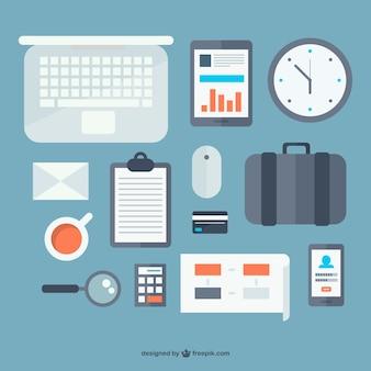 Escritório objetos design plano