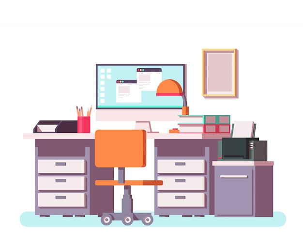 Escritório ou interior autônomo com mesa, computador, impressora, cadeira e outros equipamentos de escritório.