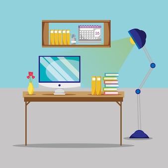 Escritório plano com mesa e acessórios de trabalho