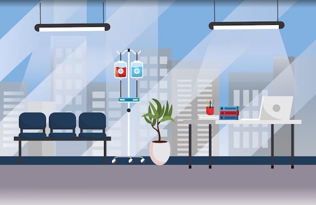 Escritório profissional do hospital com mesa e cadeiras