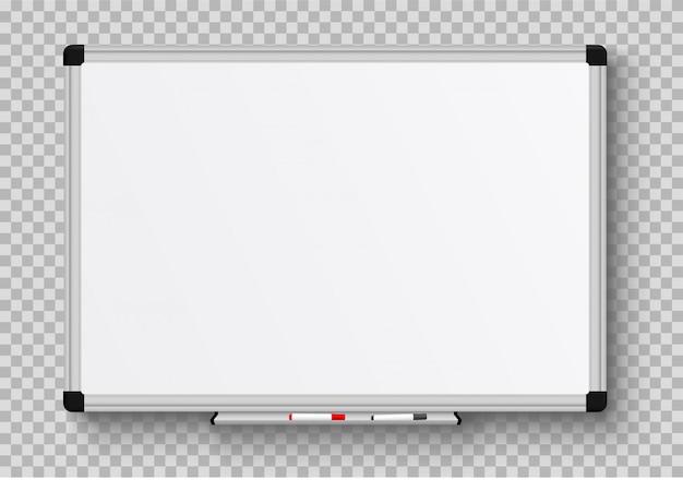 Escritório realista whiteboard. quadro branco vazio com canetas