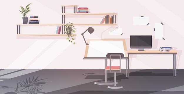 Escritório vazio do arquiteto com cadeira de mesa de desenho ajustável e sala de engenharia da oficina de informática