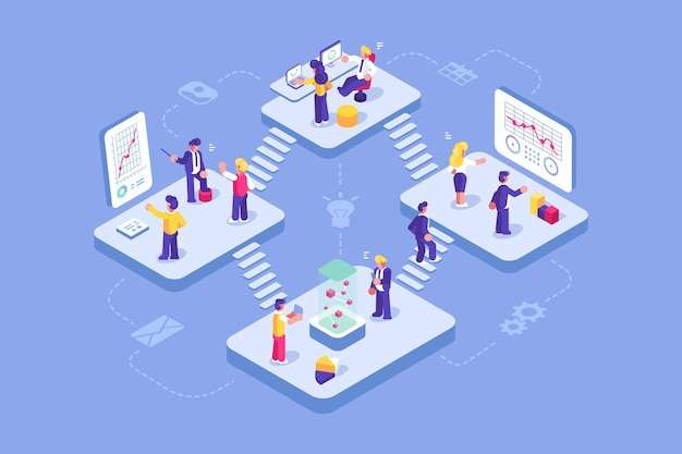 Escritório virtual com empresários trabalhando juntos