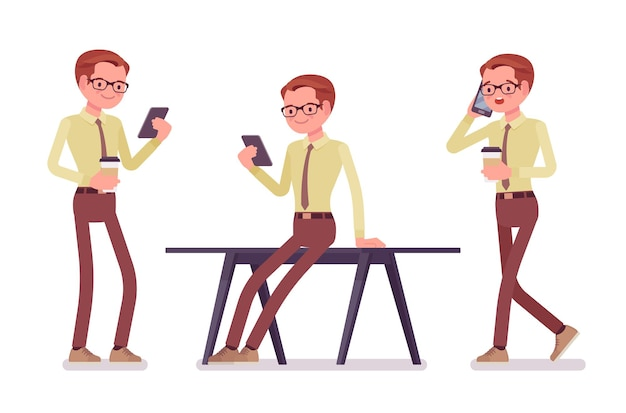 Escriturário com ilustração de gadgets