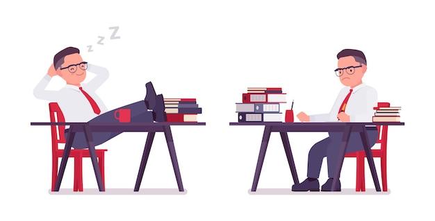 Escriturário gordo trabalhando, dormindo na mesa