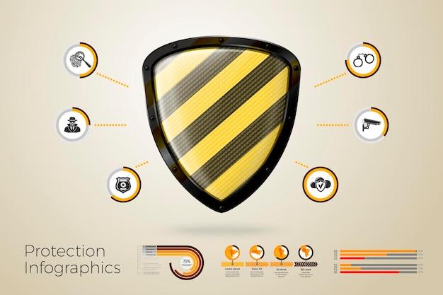 Escudo 3d realista com infográficos de negócios, ícones e gráficos isolados no fundo brilhante.