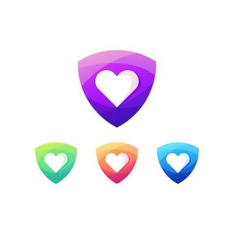 Escudo amor logotipo sinal lareira