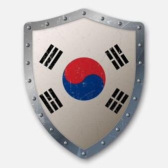 Escudo antigo com a bandeira da coreia do sul