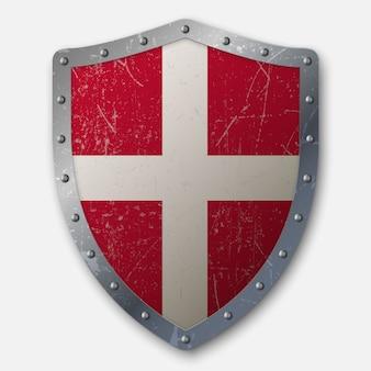 Escudo antigo com a bandeira da dinamarca