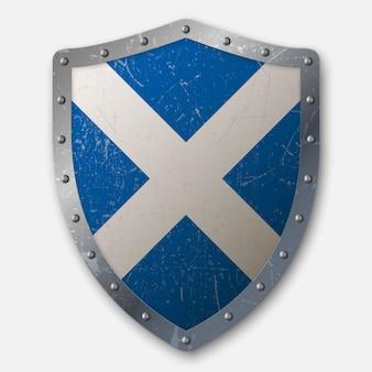 Escudo antigo com bandeira da escócia