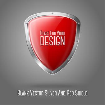 Escudo brilhante realista vermelho em branco com borda prateada