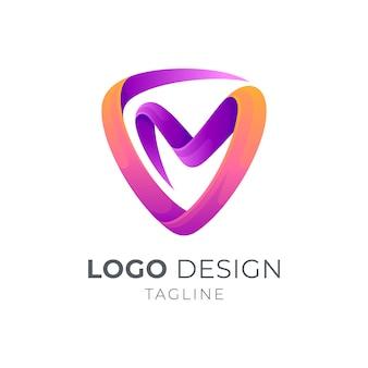 Escudo + carta vm / mv logo concept