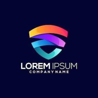 Escudo colorido logotipo gradiente