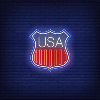 Escudo, com, bandeira eua, listras, sinal néon