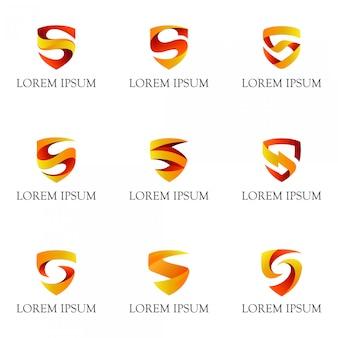 Escudo com coleção de logotipo letra inicial s