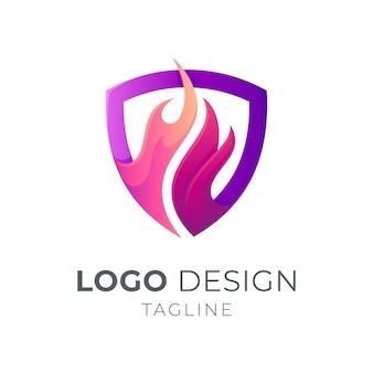 Escudo com modelo de logotipo de fogo