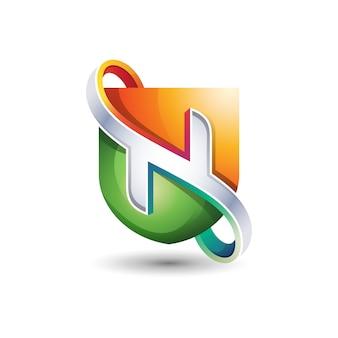 Escudo com o logotipo da letra n 3d, modelo de design de logotipo gradiente abstrata